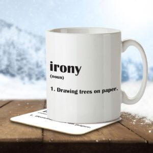 Irony Funny Definition – Mug and Coaster