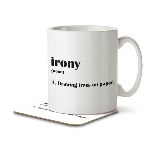 Irony Funny Definition - Mug and Coaster - MNC FUN 116 WHITE