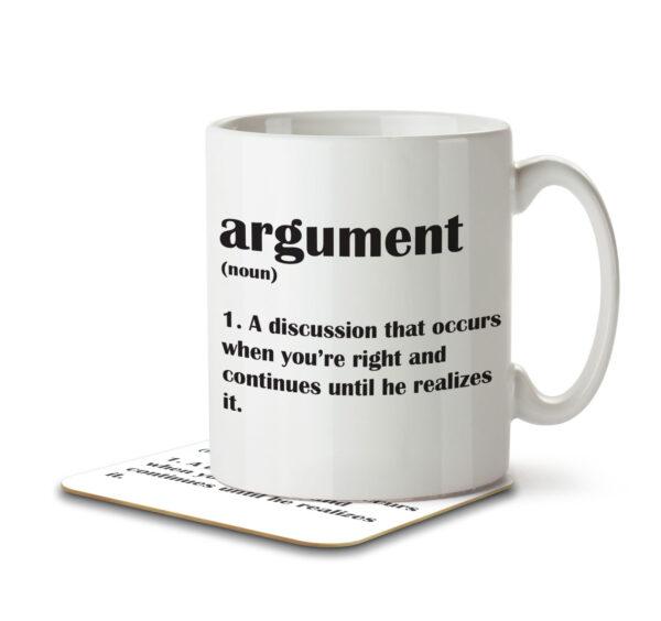 Argument Funny Definition - Anniversary - Mug and Coaster - MNC FUN 117 WHITE