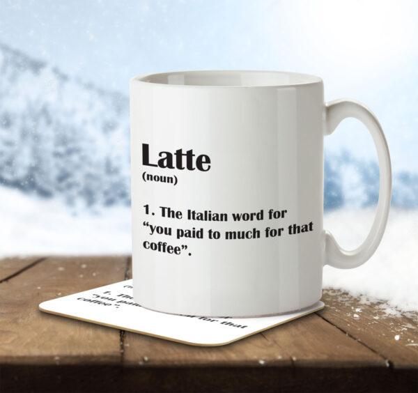 Latte Funny Definition - Coffee - Mug and Coaster - MNC FUN 122 ENV