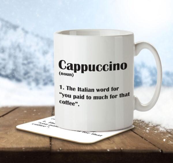 Cappuccino Funny Definition - Coffee - Mug and Coaster - MNC FUN 123 ENV