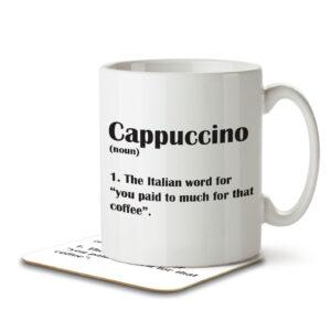 Cappuccino Funny Definition – Coffee – Mug and Coaster