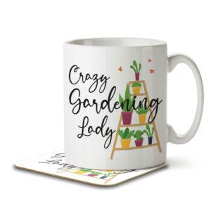 Crazy Gardening Lady – Mug and Coaster