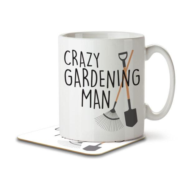 Crazy Gardening Man - Mug and Coaster - MNC HOB 041 WHITE