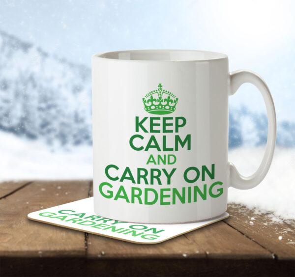 Keep Calm and Carry on Gardening - Mug and Coaster - MNC HOB 043 ENV