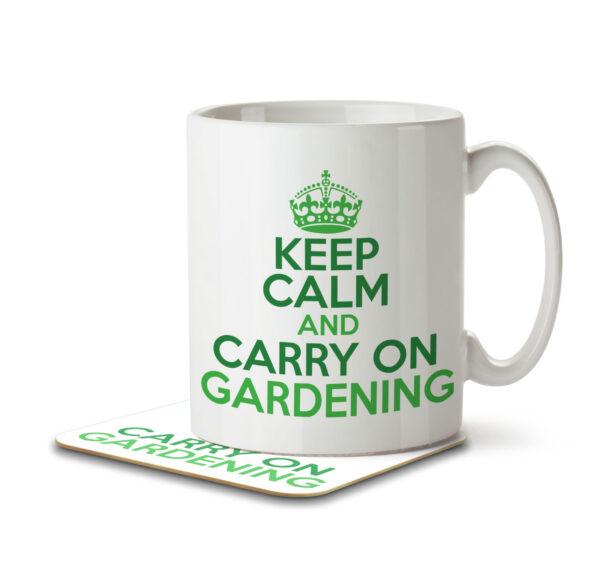 Keep Calm and Carry on Gardening - Mug and Coaster - MNC HOB 043 WHITE