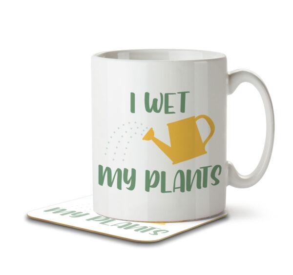 I Wet My Plants - Gardening Pun - Mug and Coaster - MNC HOB 045 WHITE