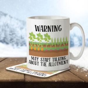 Warning May Start Talking about the Allotment – Gardening – Mug and Coaster