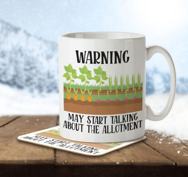 Warning May Start Talking about the Allotment - Gardening - Mug and Coaster - MNC HOB 046 ENV