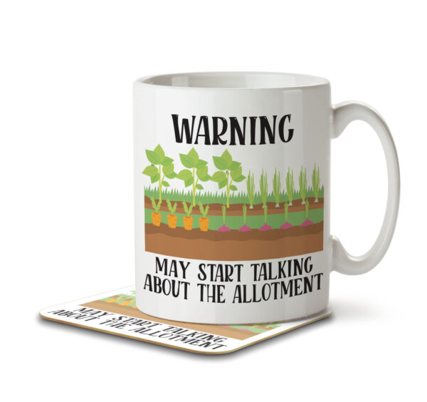 Warning May Start Talking about the Allotment - Gardening - Mug and Coaster - MNC HOB 046 WHITE